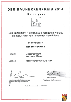 Urkunde Bauherrenpreis 2014