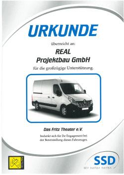 Urkunde Sponsoring Fritz Theater